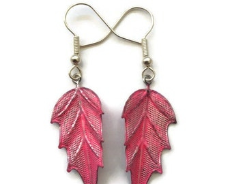 "Leaf Earrings, Metal, Dipped, Glazed, Matte, 2"", Silver, Arrow, Painted, Autumn, Fall, Nature, Pink, Bright, Neon, Fuchsia, Hot, Dangle"