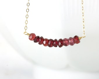 Garnet Birthstone Necklace - Gold Garnet Necklace - January Garnet Necklace - January Birthstone Necklace - Dainty Garnet Necklace