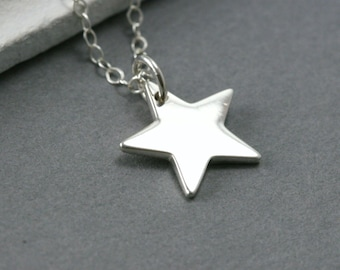 Small Sterling Silver Star - Silver Star - Modern Everyday Necklace - Tiny Star Necklace - Minimalist Star Necklace -  Starry Necklace