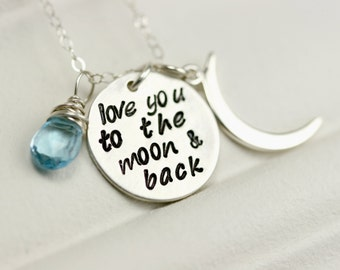 New Mom Gift - New Mom Necklace - I Love You To The Moon and Back Necklace - Sterling Silver Mom Necklace - Mothers Birthstone Necklace