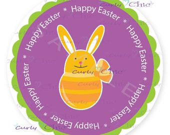 Happy Easter Stickers -Easter Labels -Easter Rabbit Labels -Custom Easter Stickers -Printed Easter Labels -Custom Easter Labels