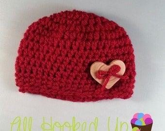 Newborn Baby Hat, Baby Girl Hat, Valentines Day Hat, Button Hat, Photo Prop