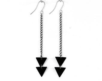 Matte Black Arrow Triangle Earrings
