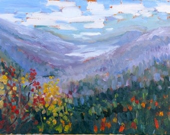 Clear Day, original 12 x 16 inch ( 30 x 41 cm) oil painting by Yvonne Wagner. Blue Ridge. Smokies. Virginia. Mountains.