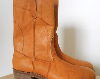1980s Hand Made Leather Boots Mens Sz 10 Narrow