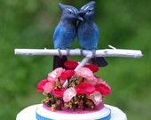 Steller's Jay Love Birds handmade wedding cake topper