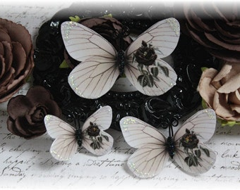 Worn Rose Butterfly Die Cuts Embellishments for Scrapbooking or Cardmaking, Tag Art,  Mixed Media, Mini Albums