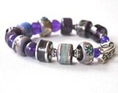 Purple Lampwork Bracelet, Blue, Artisan Glass Beaded Bracelet