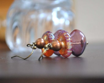 Copper Plum Earrings, Lampwork Glass Earrings, Purple Light Weight Hollow Earrings