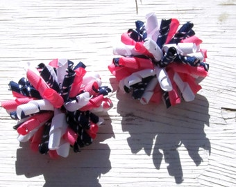Girl Hot Pink Navy Blue & White Corker Bows- Pigtail Bows- Baby Girl Bows- Toddler Bows
