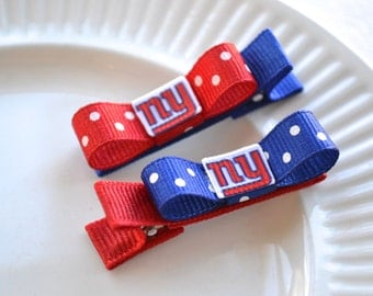 New York Giants Hair Clips, Toddler Hair Clips, NY Giants Bows, NY Giants Stocking Stuffer, baby hair clips, NY giants baby, Giants baby