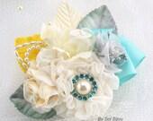 Brooch Boutonniere, Groom, Corsage, Mother of The Bride, Pearls, Crystals, Seafoam, Aqua Blue, Ivory, Cream, Yellow, Elegant, Beach