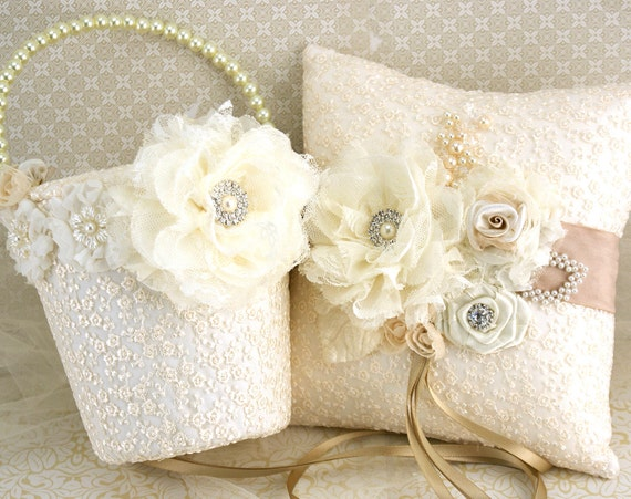 Flower Girl Baskets Ivory Uk : Flower girl basket ring bearer pillow ivory tan by solbijou