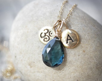 London Blue Topaz with Letter Charm Necklace - Om Necklace - Personalized Jewelry