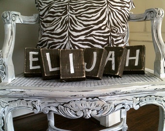 Baby Block Wood Letters - Distressed Custom Letters for Baby Name, Family Name, Bride and Groom