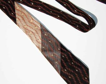 Vintage 50s Necktie Atomic Mod Mens Skinny Tie Brown Black Silver Rockabilly Stripes & Polka Dots