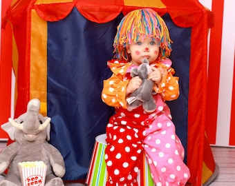 Clown Costume -Kids -clown costume, Clown photo prop, Polka dot clown, Circus party,Carnival party, birthday party, dress up,  girl