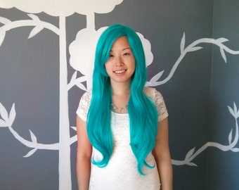 SALE: Electric - Turquoise Superlong Wig - FREE SHIPPING