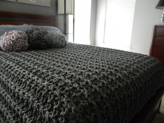 Free Knitting Patterns For Super Chunky Wool : Giant Super Chunky Knit Blanket pattern Pattern Only