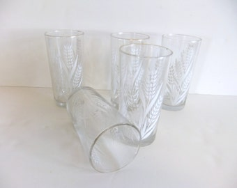 Vintage Drinking Glasses, White Wheat
