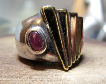 Vintage Sterling Silver and 10K Gold Ladies Size 6 High Quality and Beautiful Designer Ruby Ring