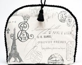 "Tea Cozy / Cosy - Paris Apartment Romantic ""Old World"" Printed Fabric with Black Tassel"