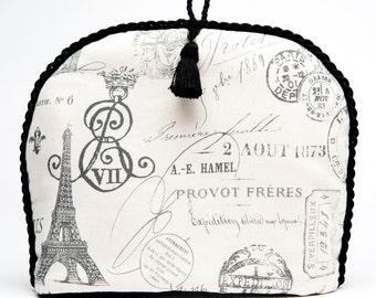 "Tea Cozy / Cosy - Paris Apartment Romantic ""Old World"" Printed Fabric with Black Tassel"