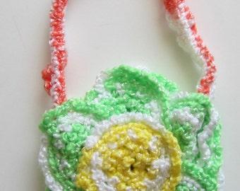 Girl's Crocheted Purse, Children's Green Girl Purse, Small Purse, Floral Purse