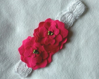 Baby/Toddler Headband - White Lace with Hot Pink Flowers Headband - Baby Girl Headband