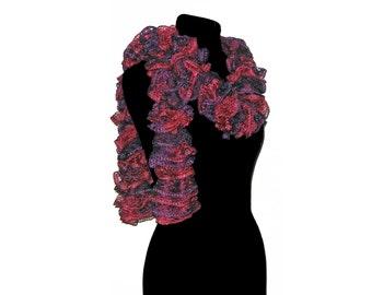 Handmade Knit Ruffle Scarf in Burgundy Purple Dark Red Trendy Twirly Scarf Womens Fashion Ladies Handmade Frilly Scarf by CraftCrazy4U Etsy