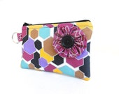 Black Hexagon Flower Zippered Bag / Coin Purse / ID Case / Gadget Pouch with Split Ring - Ready to Ship