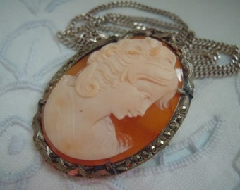 REDUCED Vintage CAMEO Hand Carved Shell Cameo Fine Silver Marcasite Pin Brooch Pendant Pin Necklace Free Shipping