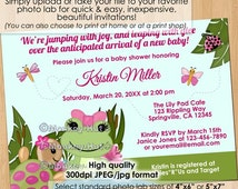 Girl Hippity FROG Baby Shower Invitations / Pink girls frogs turtle pond dragonfly / Personalized DIGITAL INVITATION #0029a