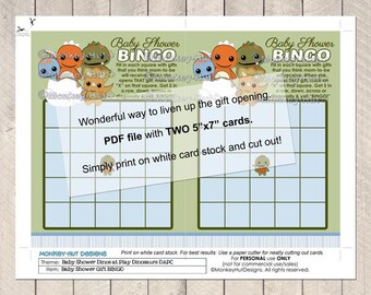 Dinos at Play Dinosaurs Baby Shower DAPC Printable Bingo Game INSTANT DOWNLOAD
