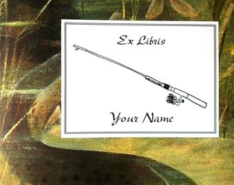 Fishing Rod Bookplates 15 Personalized Booklabels Exlibris
