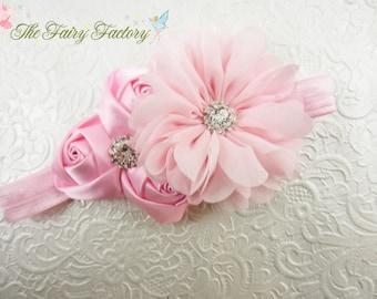 Pink Flower Headband, Satin & Chiffon Flowers w/ Rhinestones Headband or Hair Clip, Flower Girl Headband, Baby Child Girls Headband