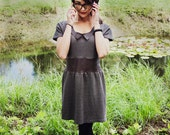 Upcycled Leather Insert and Peter Pan Collar Dress