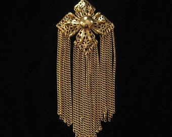 Long Tassel Pendant Necklace, 1970's, Chain Tassels, 6.5 INCHES LONG