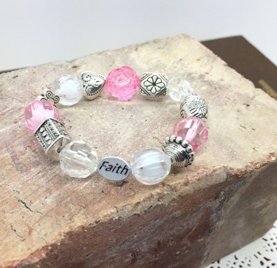 Faith Bracelet Baptismal bracelet  with FAITH bead - pink  beaded girls bracelet - baptismal gift