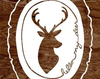 Faux Bois Print - Hello My Deer  - Deer Silhouette - Dark Brown and White Woodgrain Wood Slice Art Print  - 8 x 10 Woodland Wall Art