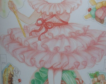 """Vintage 1990 A Sugar Plum Dream Christmas Paper Doll Collection 9.5"""" Tall Includes 7 Costumes And Accessories In Folder"""