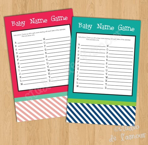 items similar to printable pdf baby shower names game on etsy