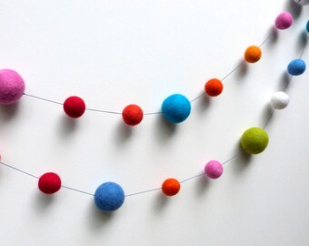 Polka Dot Garland -  large felt ball garland  in festive, bright colors --  blues, oranges, pink, red, white, and green - 7.5 ft long