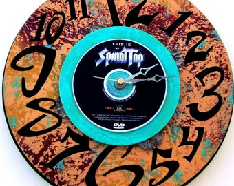 """SPINAL TAP Rock Clock Featuring 1984 DVD """"This Is Spinal Tap"""" Wall/Table Top Art, 12"""" Diameter, Turquoise, Purple, Flesh,  Mockumentary"""