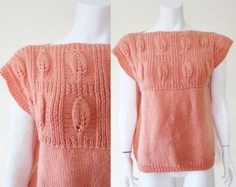 SALE Vintage 1950s Apricot Peach Salmon Pink Leaf Hand Knit Tunic Slouch Vest S M L