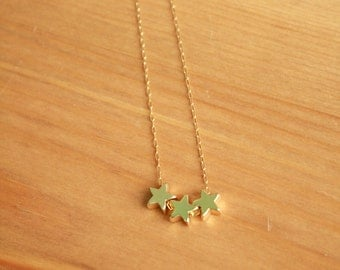 Three Wishes Gold Star Necklace.  Three, trio, triplets, sisters, best friends.