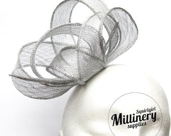 Metallic Silver Hand Rolled Sinamay Ribbon Sash for Millinery, Hat Trimming & Fascinators