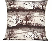 WEEKLY SPECIAL 12.00 Halloween Pillow Cover Cushion Brown Crows Cats Cemetery Branches Moon Black Gray Beige Decorative 18x18
