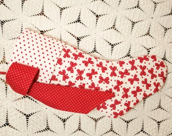 Red Hearts and Bows Vintage Fabric Stocking with Vintage Chenille Cuff