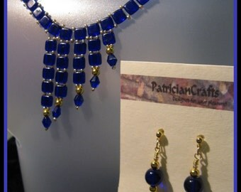 167 Cobalt Elegance Tila Necklace and earrings with Heart charm  16 to 17 1/2  inches